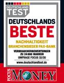 Focus Money - Deutschlands Beste - Nachhaltigkeit Branchensieger Pax-Bank